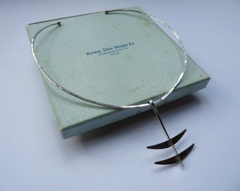 Norwegian Design sterling silver handmade, vintage designer necklace by Anna Greta Eker, mid century, modernist, 1960s with original box