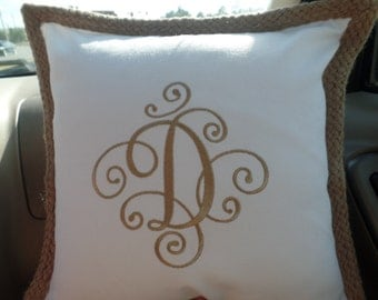 Monogram Pillow Cover/Embroidered Pillow Cover/Monogram Throw Pillow Cover