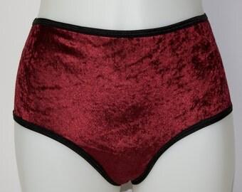 ON SALE Velvet high waist underwear in oxblood