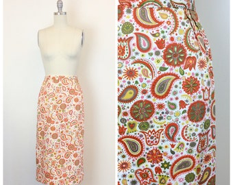 50s Mutlicolor Paisley Print Pencil Skirt / 1950s Vintage Cotton High Waisted Novelty Print Skirt / Small / Size 4