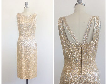 50s Yellow Crepe and Sequin Backless Wiggle Dress / 1950s Vintage Sequined Cut Out Bombshell Party Dress / Medium / Size 8