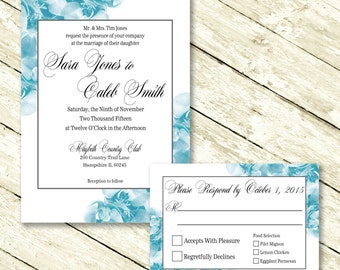 Blue Orchid Wedding Invitation with RSVP card