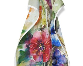Tea Towel with  floral watercolour 2