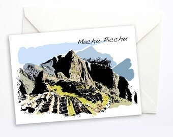 Machu Picchu Travel Notecard, Travel Greeting Card, Peru Greeeting Card, Blank Notecard, Blank card, Peru, travel gift, 5x7 card