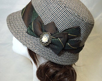 Tweed hat, vintage hat, english country ,English classic, 1920s tweed, british hat, tweed cloche