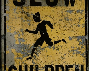 Sign Photograph - Road Sign - Slow Down Sign - New York City - Abstract Art - Wall Decor - Rustic Wall Art - Vintage  Sign Photography