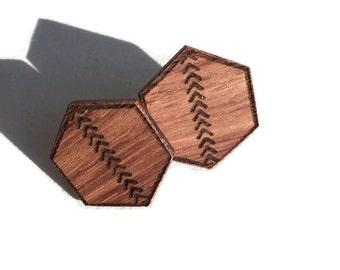 Laser etched Wooden hexagon stud earrings
