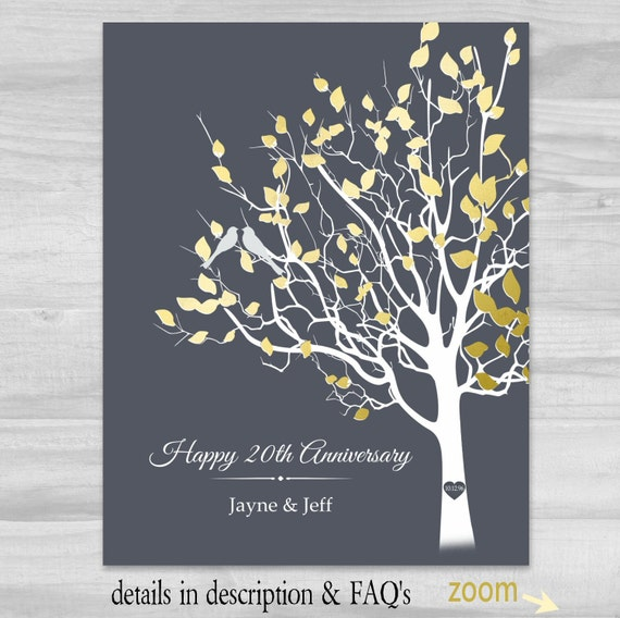 20th Anniversary Traditional Gift: 20th Anniversary Gift PERSONALIZED 20 Years Happy Anniversary