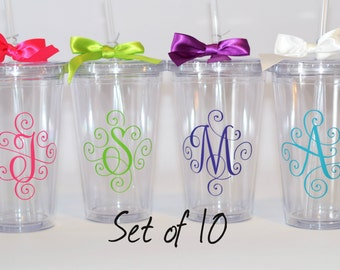 Bridesmaid Gift, Wedding Tumblers, Wedding Party Gifts, Set of 10 tumblers with initial monogram, your choice of initials and colors