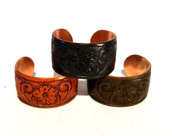 Truly hand tooled leather cuff bracelets