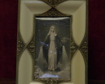 vintage religious standing frame with Our Lady of Lourdes