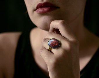 Lalia . Glossy, sparkling burgundy-red ring / boho jewelry /  gifts for her