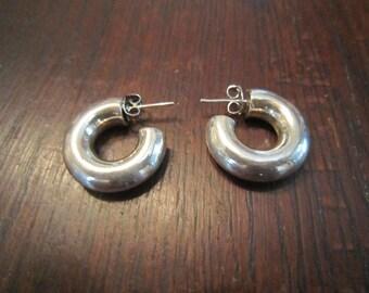 Sterling Tubular Hoop Earrings Posts