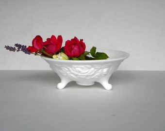Milk Glass footed Rose bowl by Indiana Glass