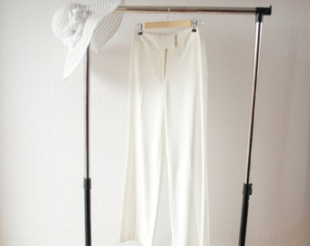 White pants ~ White high waisted pants ~ Summer pants ~ White summer pants ~ Light weight pants  ~ Pants