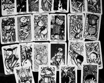 PINOKKIO Tarot -available- 22 big  Arcana Major Tarot deck - plasticized - B/W -  limited edition of 50 decks self publisched by sagittis