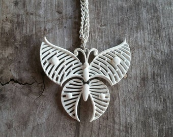 Stunning White Enamel Articulated Butterfly Necklace
