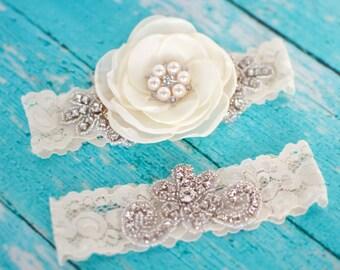 Ivory Garter    Flower Garter   Lace Garter  Heirloom   Champagne   Vintage Garter     Bling Garter   Boudoir