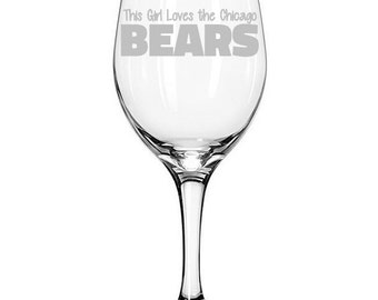 Chicago Bears Football Team Etched Wine Glass - Two Designs to choose from!