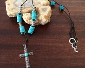 Handmade Leather Necklace With Vintage Sterling Silver Cross RM266N