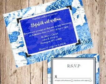 Blue Map Wedding Invitation Cobalt Sapphire Destination France Europe