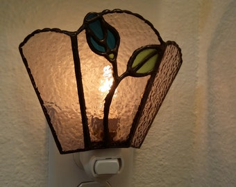 Stained Glass Nightlight with Blue Rosebud, Home Decor, Handmade, Gift for Mom, Housewarming Gift, Birthday Gift, Decorative Glass Art, OOAK