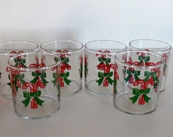 Christmas Candy Cane Glassware, Set of 6
