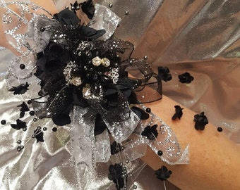 Black and Silver Wrist Corsage and boutineer