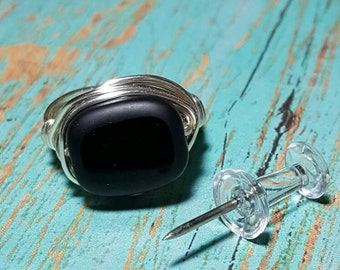 Black Ring - Wire Wrapped Ring, Black Wire Ring, Black Wire Wrap Rings, Chunky Rings, Handcrafted Jewelry, Rings