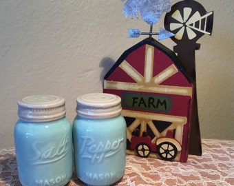 Aqua Blue Mason Jar Mini Salt Pepper Shaker Set