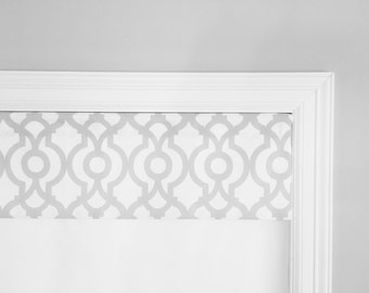 "Straight Valance.  Grey / White.  Premier Prints Lyon.  Custom Sizing Available Up To 54"" Wide."
