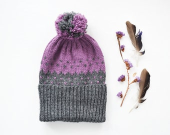 Lilac Grey hand knitted Hat with Pompom and Ornament