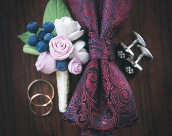 Big Wedding Boutonniere Grooms Boutonniere Groomsman Boutonniere Men Wedding Boutonniere Clay flowers Wedding Blush Boutonniere with berries