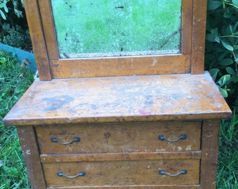 Vintage Salesman Sample Furniture Wooden Dresser with Mirror.  Eastlake?  Complete.  QUALITY!