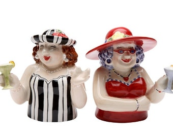 2.75 Inch Sophisticated Ladies with Martinis Salt and Pepper Shakers