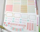 Minty Pink Aztec Planner Layout Erin Condren Planner Stickers Weekly Layout Kit Happy Planner Plum Paper Kikki K