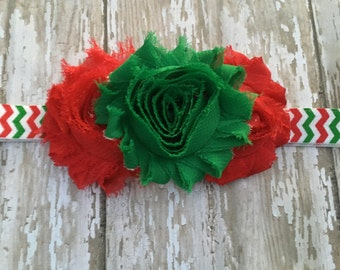 Shabby Rose Red, White and Green Christmas Infant Headband
