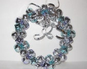 SIlver Bells Blue Purple Metal Ribbon Wreath Sparkly Handmade