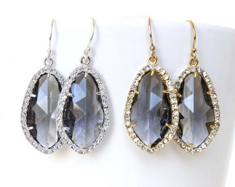 Charcoal Grey Earrings Grey Bridal Earrings Grey Cubic Zirconia Framed Earrings Grey Bridesmaids Earrings Charcoal Bridal Zirconia Earrings