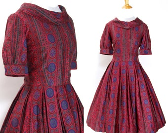 Vintage 1950s Dress | 50s Paisley Floral Cotton Print Shirtwaist Dress | Pink Purple Green | XS S
