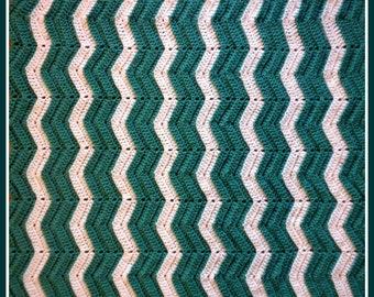 Handmade Crochet Jade Green and White Baby Blanket