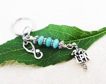 "LPN KEYCHAIN with stethoscope - turquoise beaded keyring - See all photos and read ""item details"" below"
