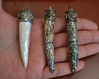 3 pcs mother of PEARL SHELL agate gem stone brass CAPS pendant #p-213