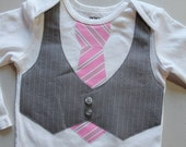 9 month short sleeve pink tie with gray vest