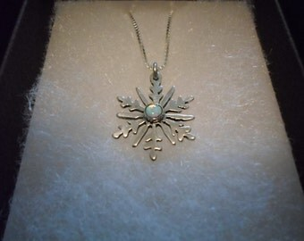 created 4mm opal snowflake quarter size w/sterling silver chain