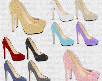 Glitter Stiletto High Heel Shoes | 10 Colors Pair & Single Pump | 20 Digital Images | Clipart | Instant Download