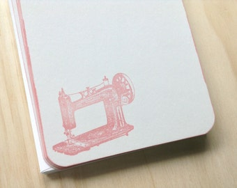 vintage inspired flat note card set, sewing machine stationery set, kraft, set of 10, a2