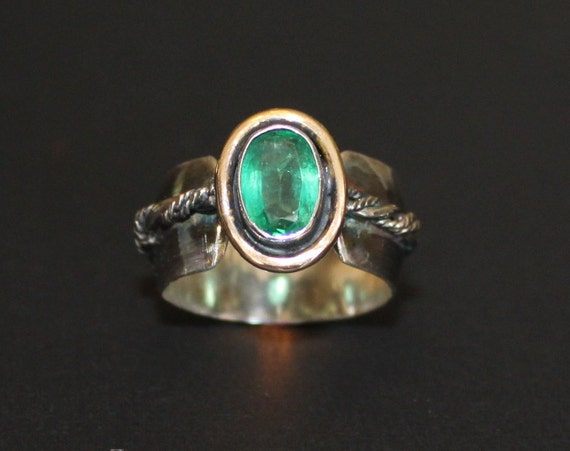 columbian emerald ring silver and gold emerald ring