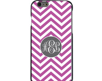 Hard Snap-On Case for Apple 5 5S SE 6 6S 7 Plus - CUSTOM Monogram - Any Colors - Fuchsia White Grey Chevron Circle