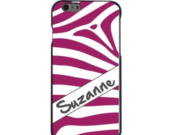 Hard Snap-On Case for Apple 5 5S SE 6 6S 7 Plus - CUSTOM Monogram - Any Colors - Fuchsia White Grey Zebra Skin Stripes